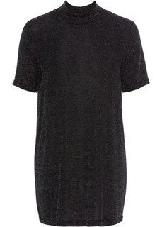 Блестящая удлиненная футболка (черный/серебристый) Bonprix
