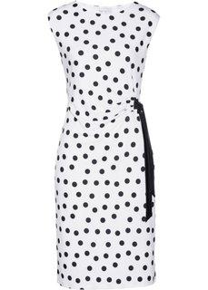 Платье с рисунком (белый/черный в горошек) Bonprix