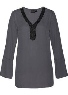 Туника с декоративной лентой (шиферно-серый) Bonprix