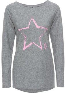 Футболка (серый меланж/ярко-розовый с принтом) Bonprix
