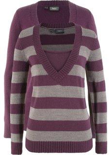 Пуловер с V-вырезом (2 шт.) (цвет бузины в полоску + цвет бузины) Bonprix
