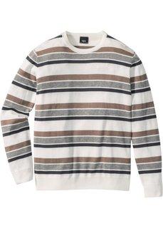 Пуловер Regular Fit в полоску (серый в полоску) Bonprix