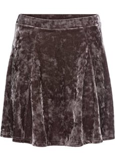 Трикотажная юбка с имитацией бархата (серо-коричневый) Bonprix