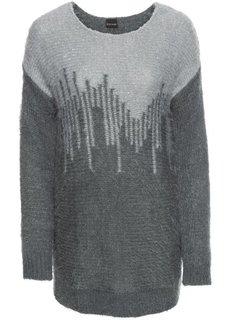 Пуловер с пайетками (темно-серый/светло-серый) Bonprix