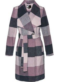 Пальто с ремнем (ночная синь/розовый матовый в клетку) Bonprix