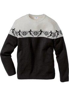 Пуловер Regular Fit в норвежском стиле с долей шерсти (черный/цвет белой шерсти с узором) Bonprix