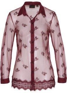 Блузка с кружевной отделкой (кленово-красный) Bonprix