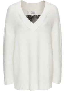 Вязаный пуловер с кружевом (кремовый/черный) Bonprix