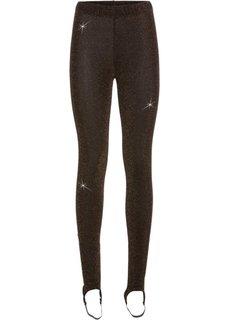 Эластичные брюки со штрипками, украшены люрексом (черный/медный) Bonprix