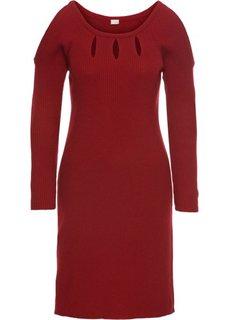 Вязаное платье с вырезами (красный) Bonprix