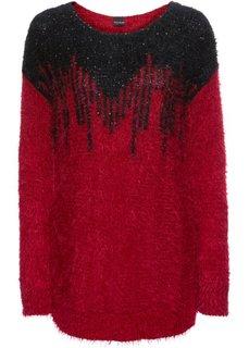 Пуловер с пайетками (красный/черный) Bonprix
