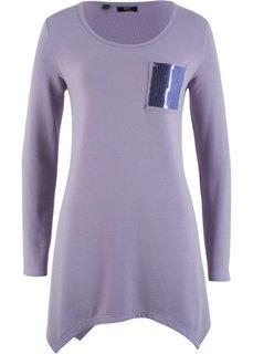 Футболка с асимметричным нижним краем и карманом с пайетками (дымчато-фиолетовый) Bonprix