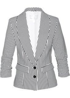 Пиджак с драпированными рукавами (черный/белый в продольную полоску) Bonprix