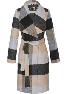 Пальто с ремнем (черный/верблюжий в клетку) Bonprix