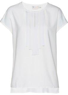 Блузка с декоративными лентами (белый) Bonprix