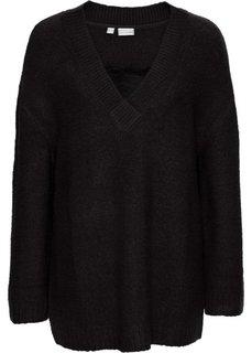 Вязаный пуловер с кружевом (черный) Bonprix