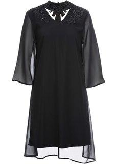 Платье с кружевом и аппликациями (черный) Bonprix