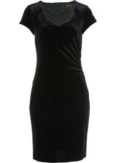 Бархатное платье (черный) Bonprix