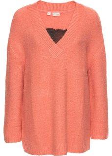 Вязаный пуловер с кружевом (персиковый/черный) Bonprix