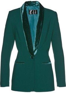 Пиджак с бархатными лацканами (насыщенный зеленый) Bonprix