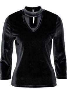 Бархатная футболка с чокером (черный) Bonprix