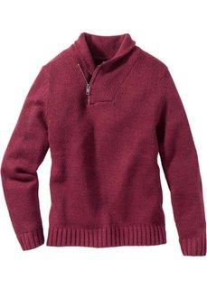 Пуловер с шалевым воротом Regular Fit (ягодный) Bonprix
