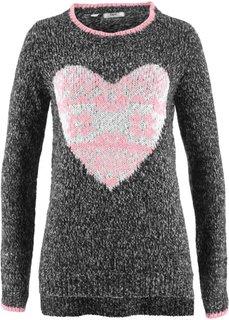 Пуловер с длинным рукавом (черный/кремовый) Bonprix