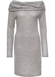 Платье с вырезом-кармен (серый меланж) Bonprix