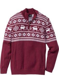 Пуловер Regular Fit с воротником-стойкой (красная ягода) Bonprix