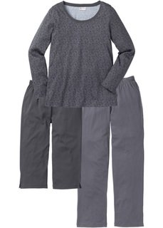 Пижама (3 изд.) (серый в цветочек) Bonprix
