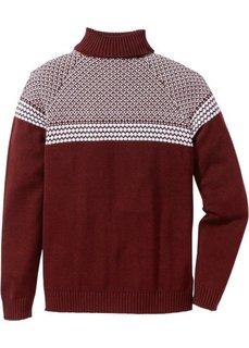 Пуловер Regular Fit с высоким воротом (кленово-красный) Bonprix