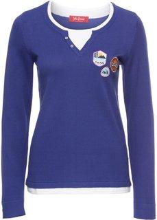 Пуловер с длинным рукавом, 2 в 1 (сапфирно-синий/белый) Bonprix