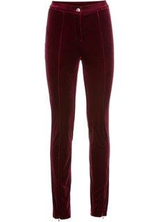 Трикотажные брюки с имитацией бархата (бордовый) Bonprix