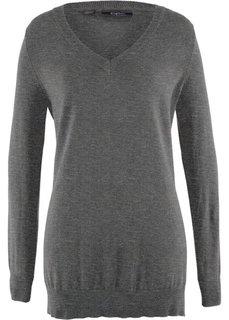 Пуловер с глубоким V-образным вырезом (серый меланж) Bonprix
