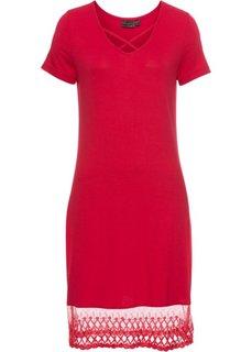 Платье с кружевной вставкой (красный) Bonprix