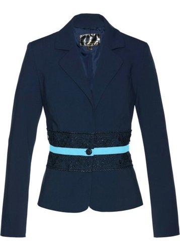 Пиджак с кружевной отделкой (темно-синий/синяя пудра)