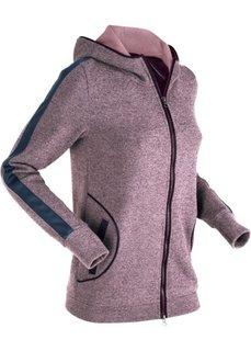 Трикотажная куртка с отделкой из искусственной кожи (бузиничный меланж) Bonprix