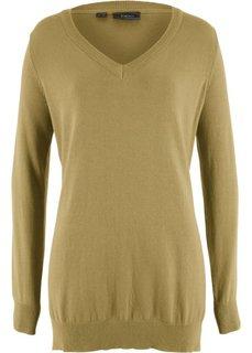 Пуловер с глубоким V-образным вырезом (зеленый) Bonprix
