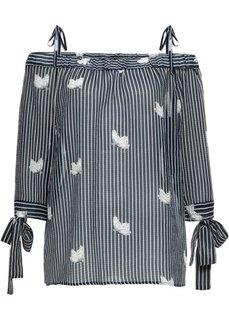 Блуза-кармен с принтом в полоску (темно-синий/белый в полоску) Bonprix