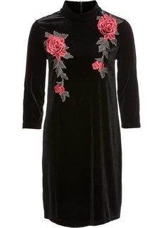 Трикотажное платье с имитацией бархата (черный) Bonprix