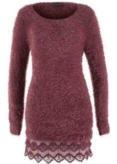 Пушистый пуловер с кружевом по нижнему краю (темно-бордовый) Bonprix
