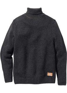 Пуловер Regular Fit с высоким воротником (антрацитовый меланж) Bonprix