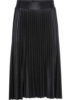 Плиссированная юбка с металлическим отливом (черный металлик) Bonprix