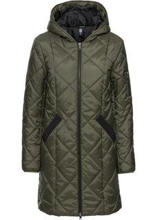 Двухцветное стеганое пальто (темно-оливковый/черный) Bonprix