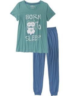 Пижама (синий/минерально-синий с рисунком) Bonprix