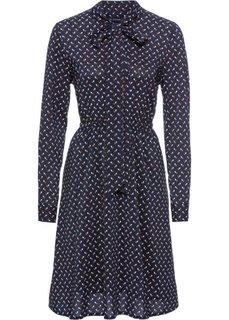 Платье (темно-синий/белый/коньячный с принтом) Bonprix
