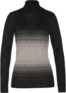 Пуловер с высоким воротом (черный/натуральный камень) Bonprix