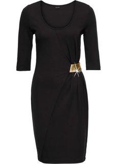 Платье из трикотажа, с аппликацией (черный/золотистый) Bonprix