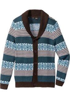 Кардиган Regular Fit (темно-коричневый/сине-зеленый) Bonprix