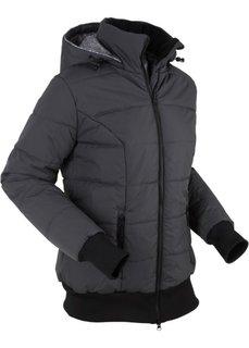 Стеганая куртка с принтованной подкладкой (шиферно-серый) Bonprix